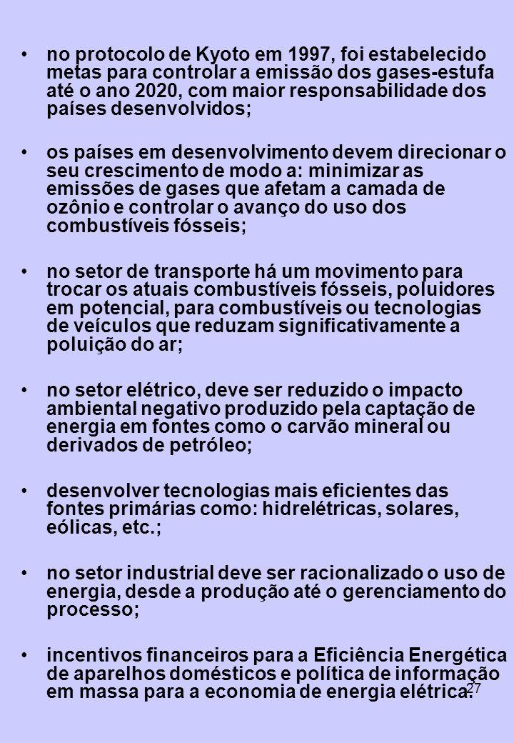 no protocolo de Kyoto em 1997, foi estabelecido metas para controlar a emissão dos gases-estufa até o ano 2020, com maior responsabilidade dos países desenvolvidos;