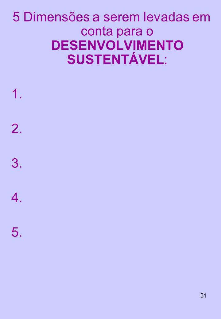 5 Dimensões a serem levadas em conta para o DESENVOLVIMENTO SUSTENTÁVEL: