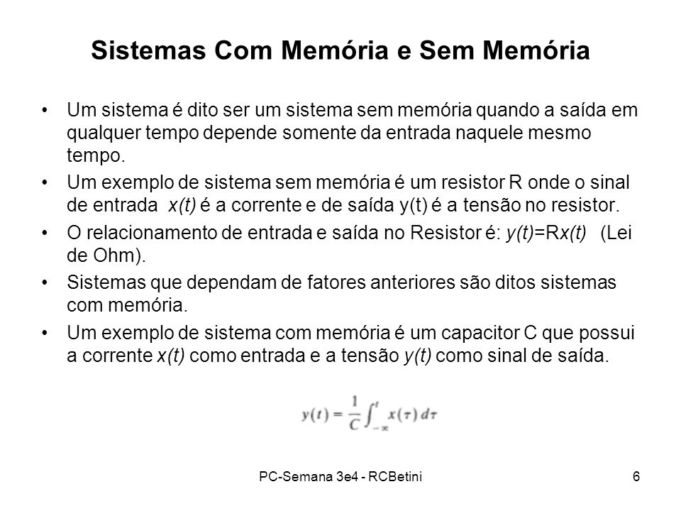 Sistemas Com Memória e Sem Memória