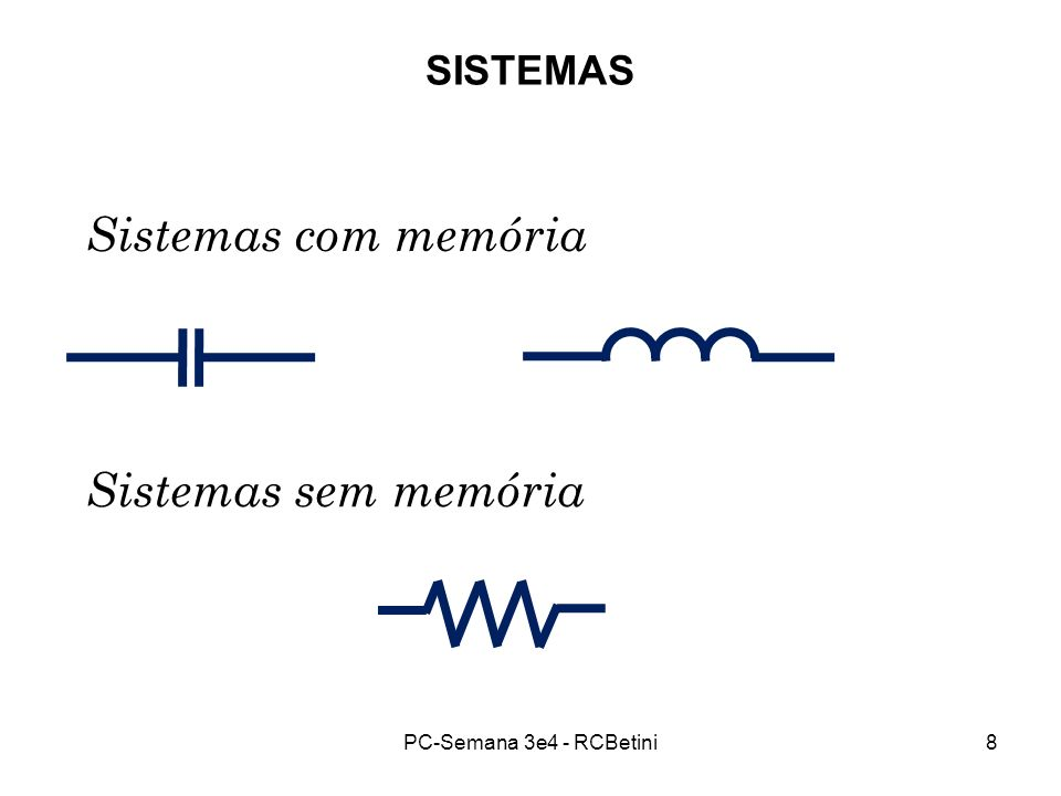 Sistemas com memória Sistemas sem memória SISTEMAS