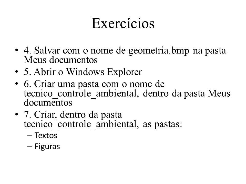 Exercícios 4. Salvar com o nome de geometria.bmp na pasta Meus documentos. 5. Abrir o Windows Explorer.