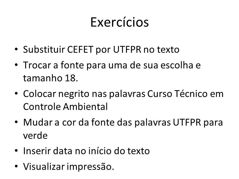 Exercícios Substituir CEFET por UTFPR no texto