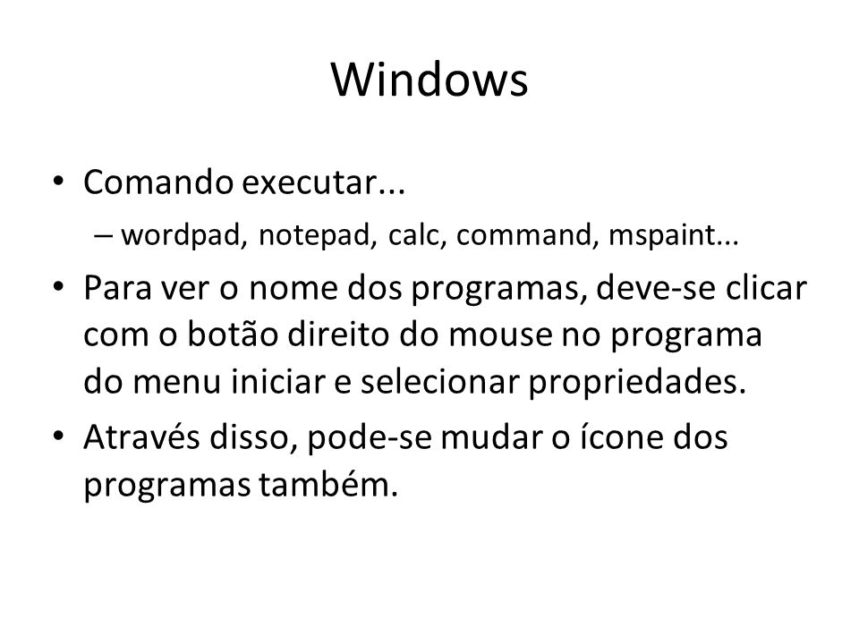 Windows Comando executar...