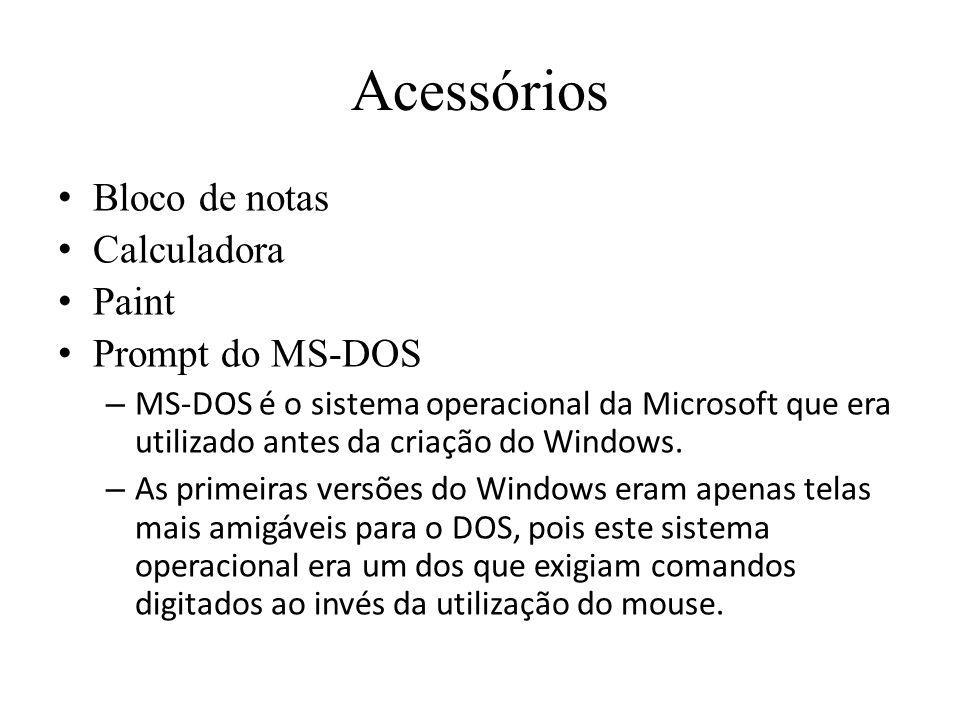 Acessórios Bloco de notas Calculadora Paint Prompt do MS-DOS