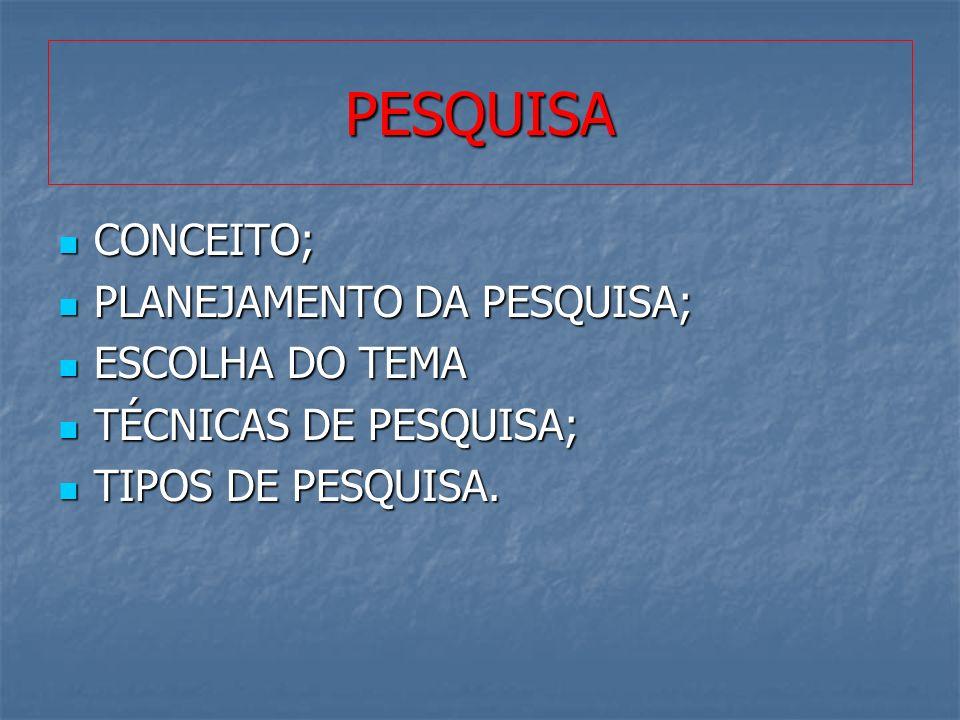 PESQUISA CONCEITO; PLANEJAMENTO DA PESQUISA; ESCOLHA DO TEMA