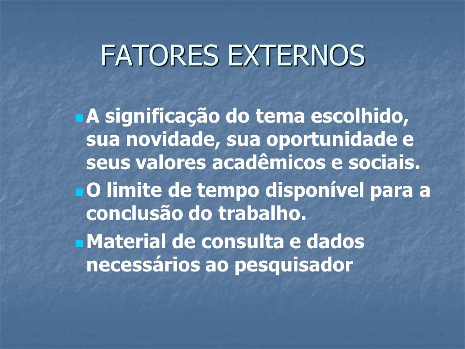 FATORES EXTERNOS A significação do tema escolhido, sua novidade, sua oportunidade e seus valores acadêmicos e sociais.