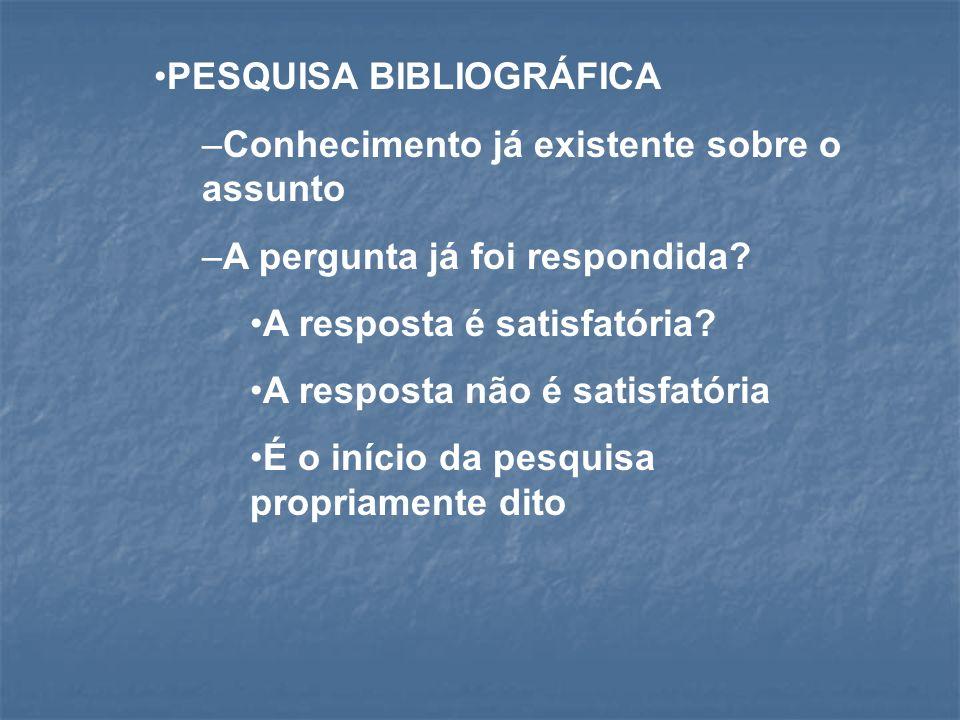 PESQUISA BIBLIOGRÁFICA Conhecimento já existente sobre o assunto