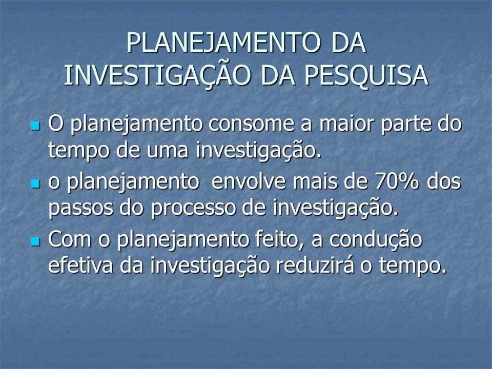 PLANEJAMENTO DA INVESTIGAÇÃO DA PESQUISA
