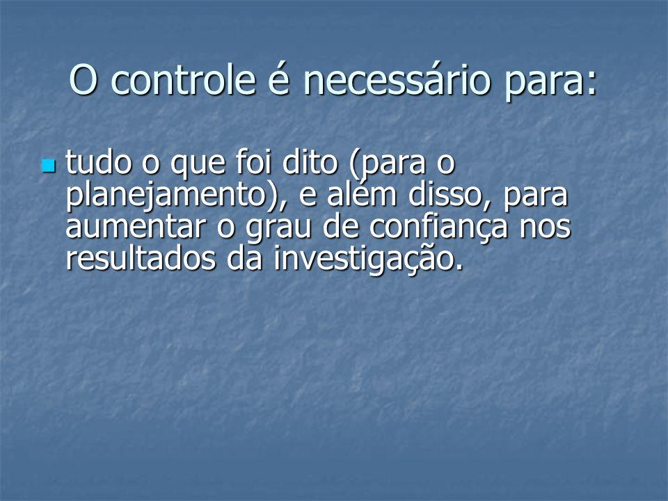 O controle é necessário para: