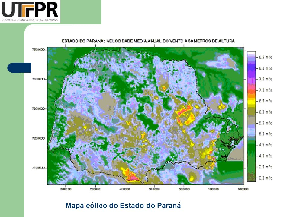 Mapa eólico do Estado do Paraná