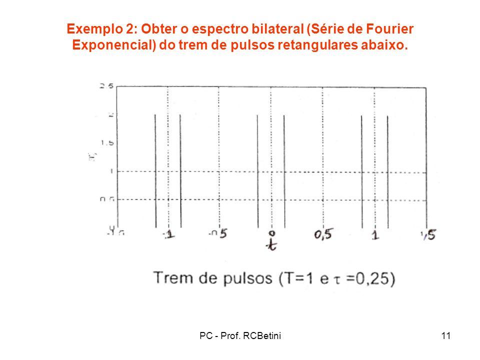 Exemplo 2: Obter o espectro bilateral (Série de Fourier Exponencial) do trem de pulsos retangulares abaixo.