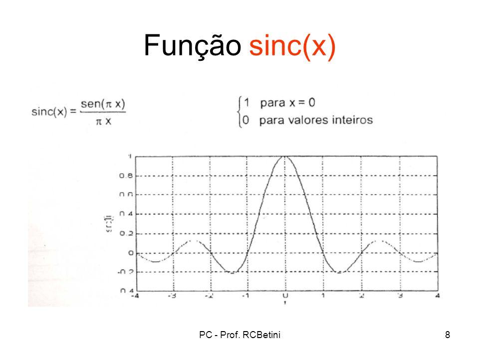 Função sinc(x) PC - Prof. RCBetini