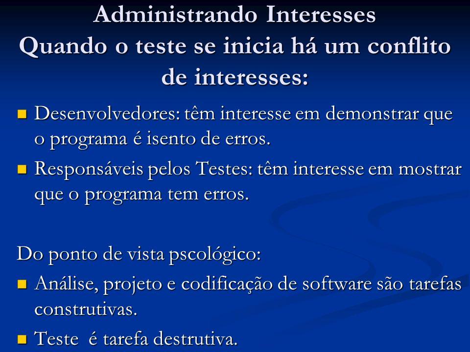 Administrando Interesses Quando o teste se inicia há um conflito de interesses: