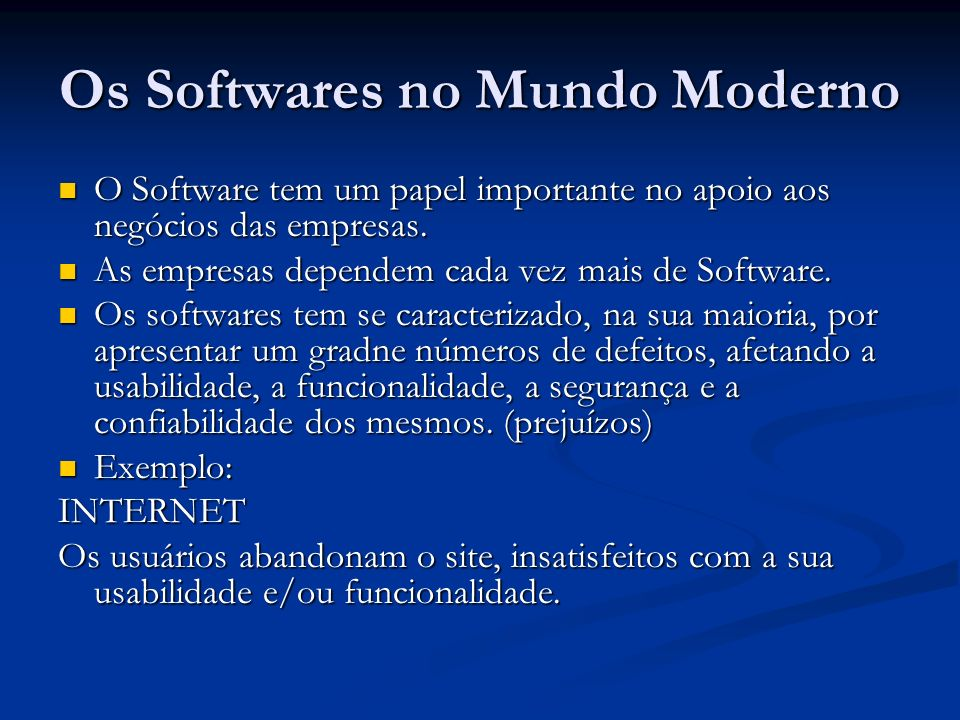Os Softwares no Mundo Moderno