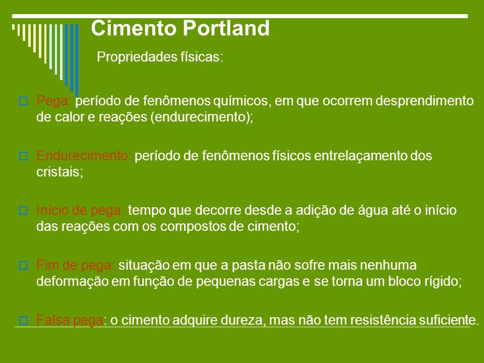 Cimento Portland Propriedades físicas: