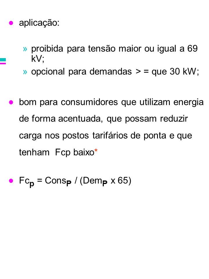 aplicação: proibida para tensão maior ou igual a 69 kV; opcional para demandas > = que 30 kW;