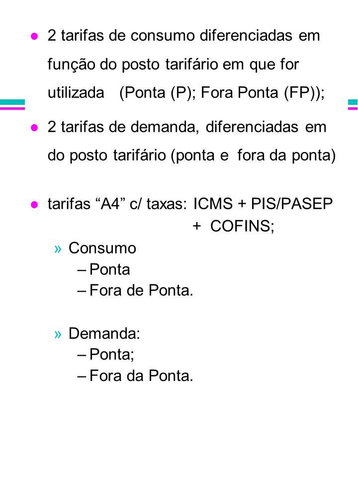 2 tarifas de consumo diferenciadas em função do posto tarifário em que for utilizada (Ponta (P); Fora Ponta (FP));