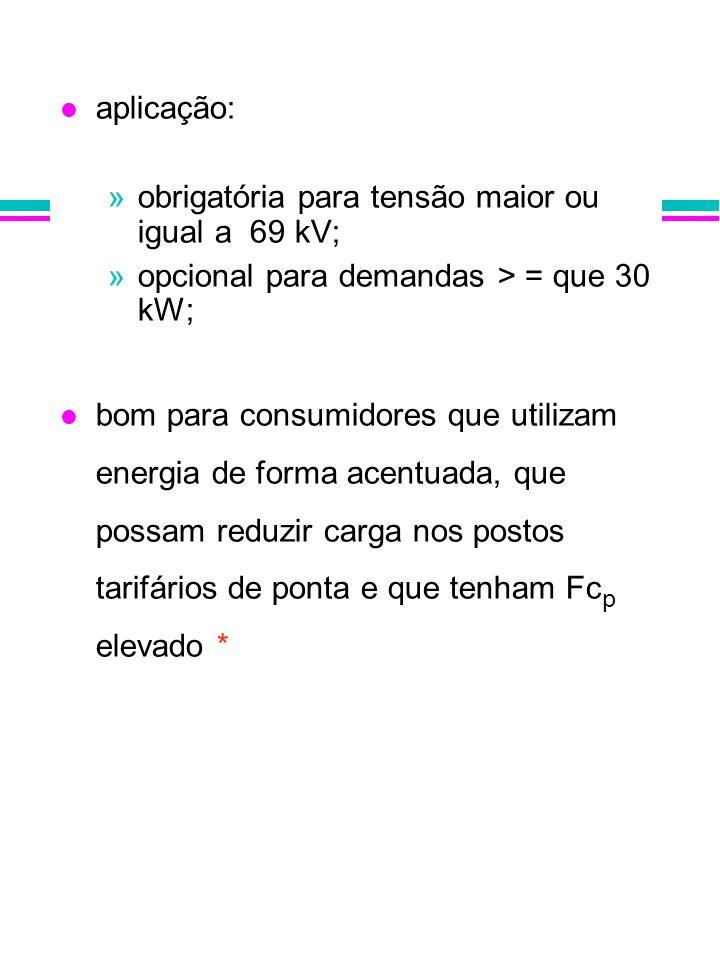 aplicação: obrigatória para tensão maior ou igual a 69 kV; opcional para demandas > = que 30 kW;