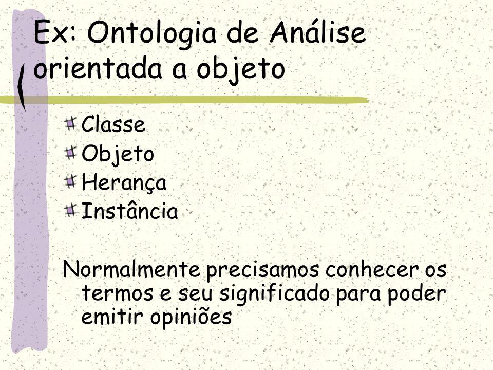 Ex: Ontologia de Análise orientada a objeto