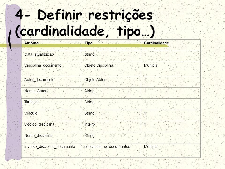4- Definir restrições (cardinalidade, tipo…)
