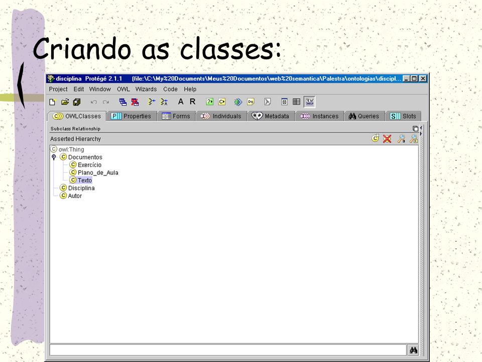 Criando as classes: