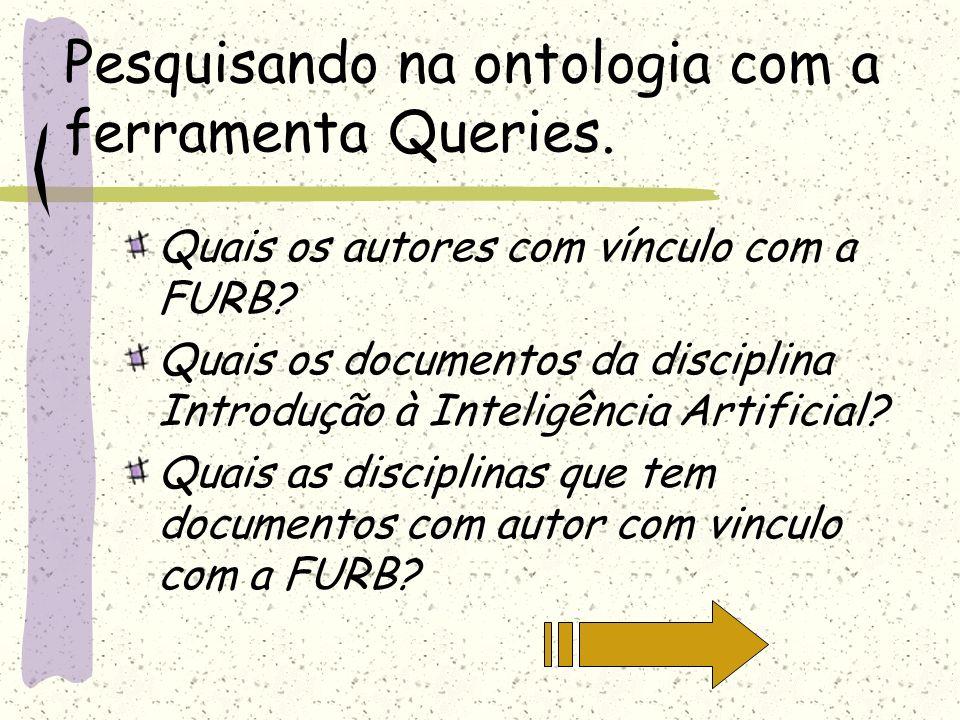 Pesquisando na ontologia com a ferramenta Queries.