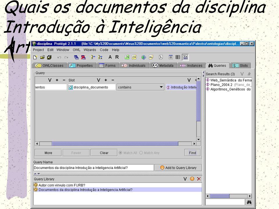 Quais os documentos da disciplina Introdução à Inteligência Artificial