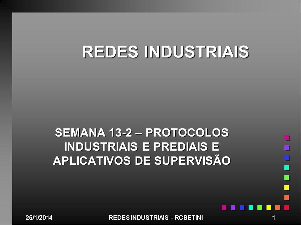 REDES INDUSTRIAIS SEMANA 13-2 – PROTOCOLOS INDUSTRIAIS E PREDIAIS E APLICATIVOS DE SUPERVISÃO. 25/03/2017.