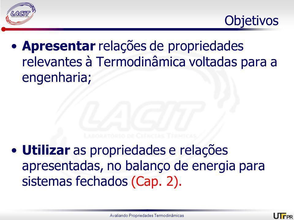 Objetivos Apresentar relações de propriedades relevantes à Termodinâmica voltadas para a engenharia;