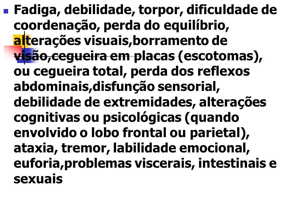 Fadiga, debilidade, torpor, dificuldade de coordenação, perda do equilíbrio, alterações visuais,borramento de visão,cegueira em placas (escotomas), ou cegueira total, perda dos reflexos abdominais,disfunção sensorial, debilidade de extremidades, alterações cognitivas ou psicológicas (quando envolvido o lobo frontal ou parietal), ataxia, tremor, labilidade emocional, euforia,problemas viscerais, intestinais e sexuais