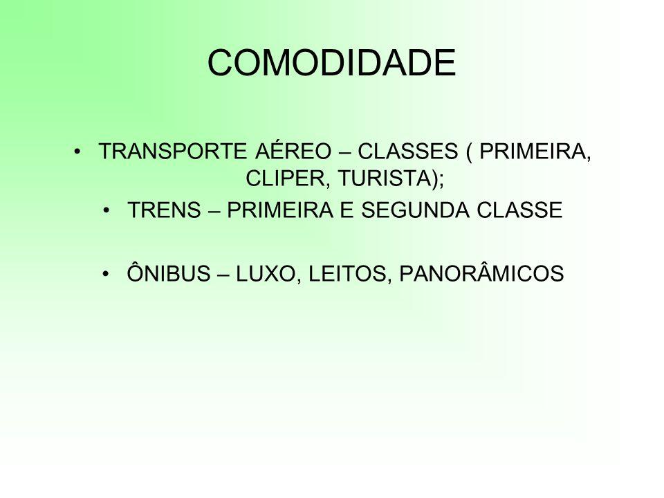 COMODIDADE TRANSPORTE AÉREO – CLASSES ( PRIMEIRA, CLIPER, TURISTA);