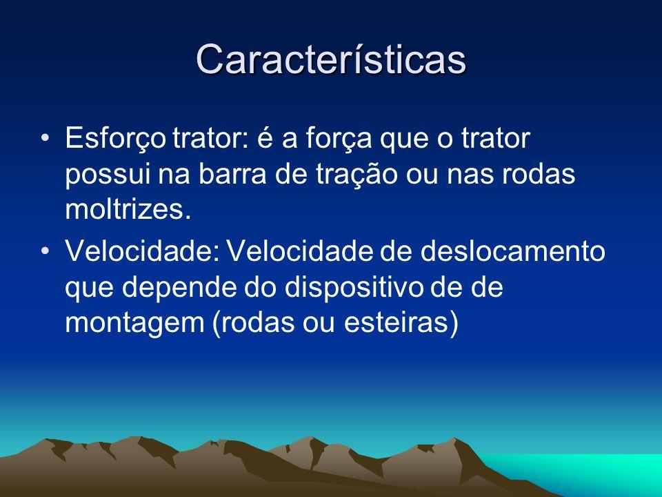 CaracterísticasEsforço trator: é a força que o trator possui na barra de tração ou nas rodas moltrizes.