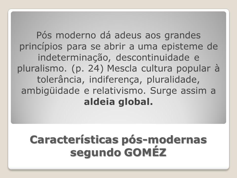 Características pós-modernas segundo GOMÉZ