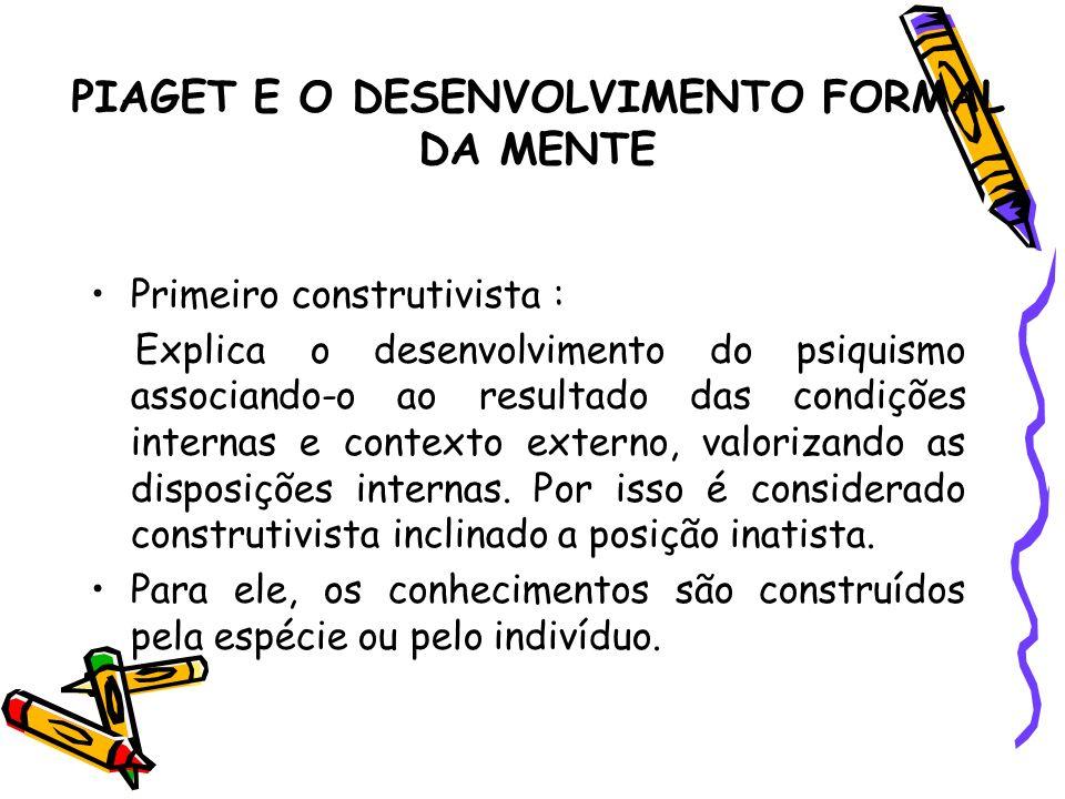 PIAGET E O DESENVOLVIMENTO FORMAL DA MENTE