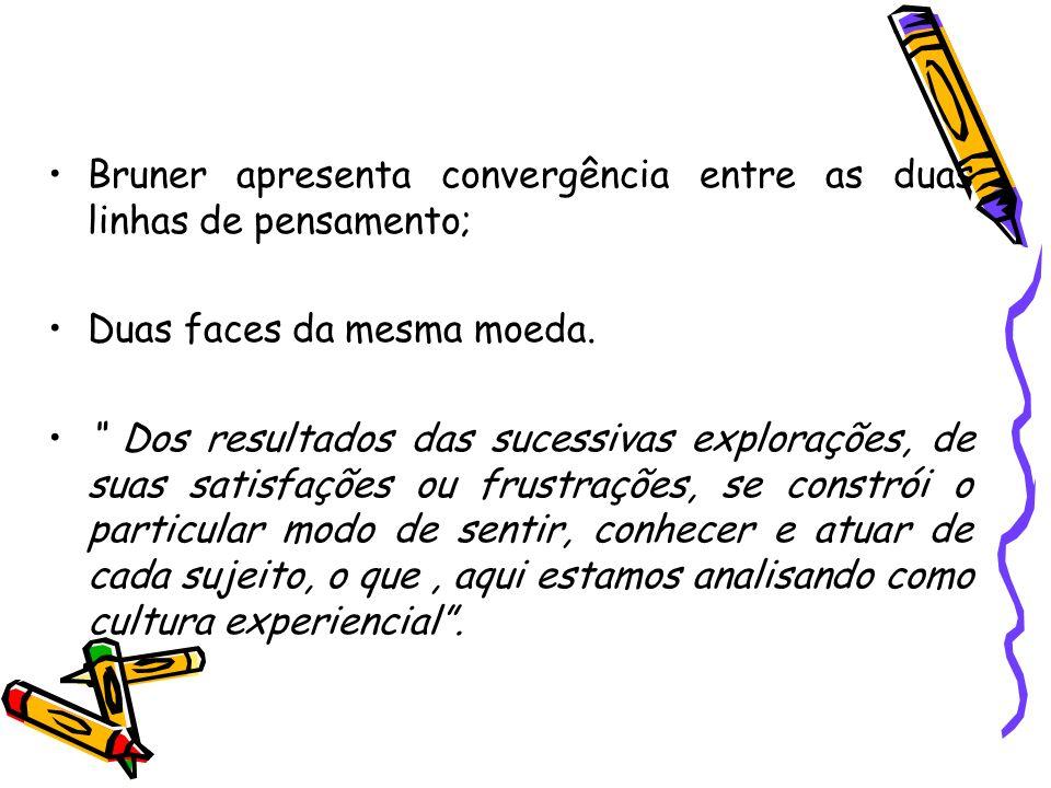 Bruner apresenta convergência entre as duas linhas de pensamento;