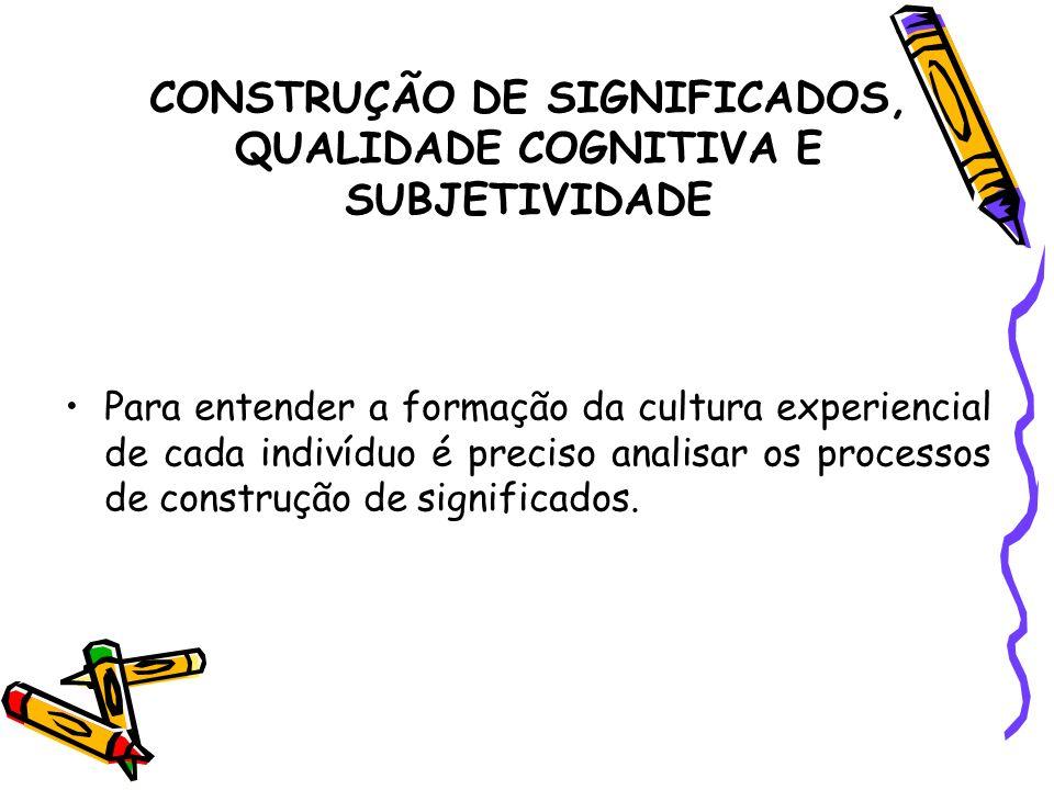 CONSTRUÇÃO DE SIGNIFICADOS, QUALIDADE COGNITIVA E SUBJETIVIDADE