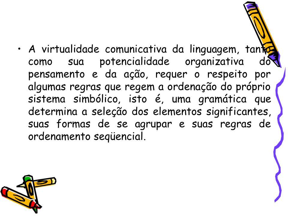 A virtualidade comunicativa da linguagem, tanto como sua potencialidade organizativa do pensamento e da ação, requer o respeito por algumas regras que regem a ordenação do próprio sistema simbólico, isto é, uma gramática que determina a seleção dos elementos significantes, suas formas de se agrupar e suas regras de ordenamento seqüencial.