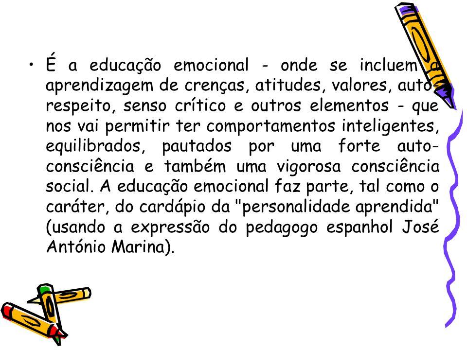 É a educação emocional - onde se incluem a aprendizagem de crenças, atitudes, valores, auto-respeito, senso crítico e outros elementos - que nos vai permitir ter comportamentos inteligentes, equilibrados, pautados por uma forte auto-consciência e também uma vigorosa consciência social.