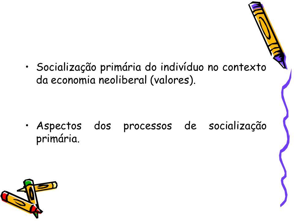 Socialização primária do indivíduo no contexto da economia neoliberal (valores).