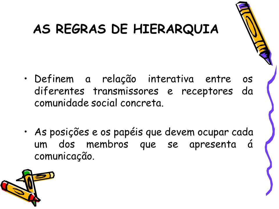 AS REGRAS DE HIERARQUIA