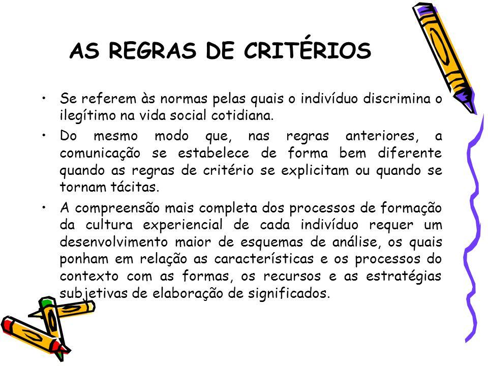 AS REGRAS DE CRITÉRIOS Se referem às normas pelas quais o indivíduo discrimina o ilegítimo na vida social cotidiana.