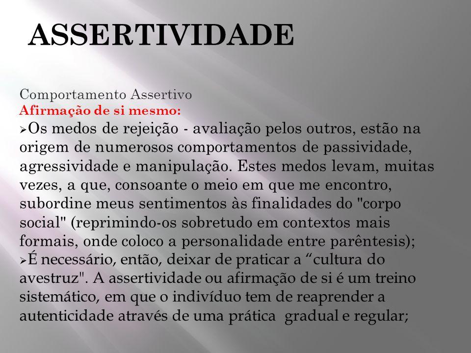 ASSERTIVIDADE Comportamento Assertivo. Afirmação de si mesmo: