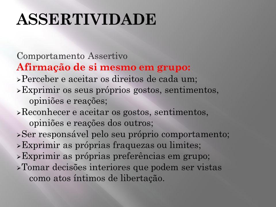 ASSERTIVIDADE Afirmação de si mesmo em grupo: Comportamento Assertivo