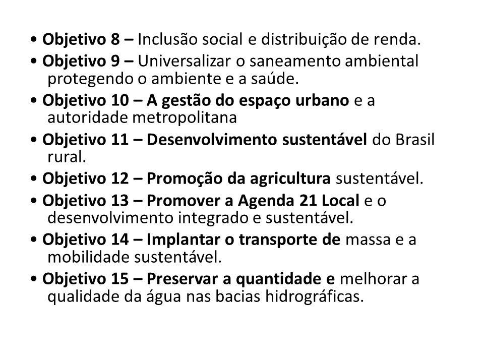 • Objetivo 8 – Inclusão social e distribuição de renda