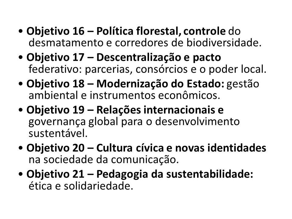 • Objetivo 16 – Política florestal, controle do desmatamento e corredores de biodiversidade.
