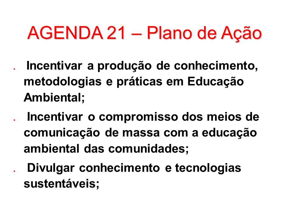 AGENDA 21 – Plano de Ação Incentivar a produção de conhecimento, metodologias e práticas em Educação Ambiental;