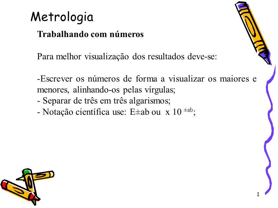 Metrologia Trabalhando com números