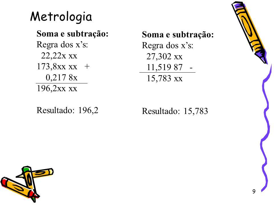 Metrologia Soma e subtração: Soma e subtração: Regra dos x's: