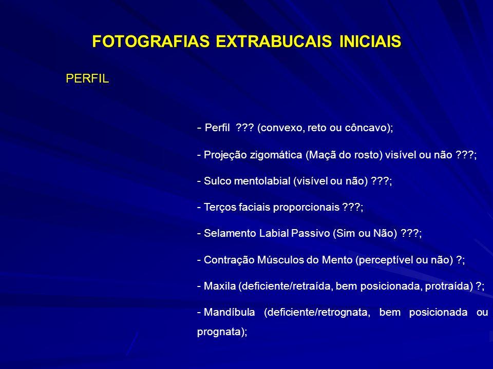 FOTOGRAFIAS EXTRABUCAIS INICIAIS