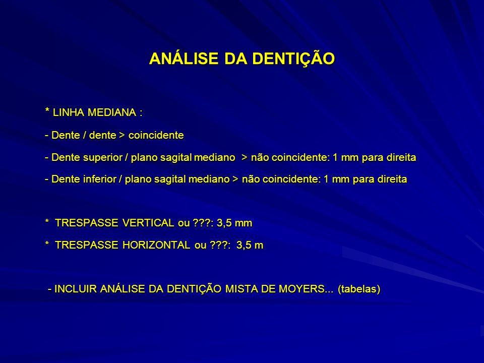 ANÁLISE DA DENTIÇÃO * LINHA MEDIANA : - Dente / dente > coincidente